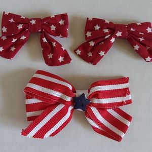 Gymboree and handmade patriotic hair bows